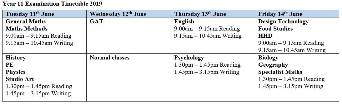 Year 11 Exam Timetable